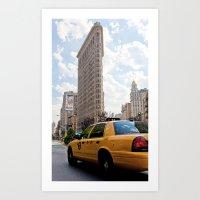 New York City taxi and Flatiron Building Art Print