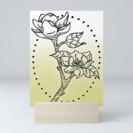 Magnolia Tree Branch Design — Magnolia Oval Dotwork Illustration Mini Art Print