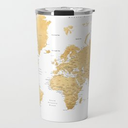 Gold world map with cities Travel Mug