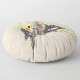 Two cute cockatiels Floor Pillow