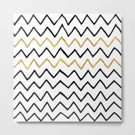 Writing Exercise-Simple Zig Zag Pattern- Black on White Gold - Mix & Match with Simplicity of life Metal Print