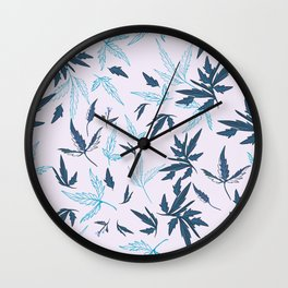 Floral rustic vector pattern with leaves and plants in blue color  Wall Clock