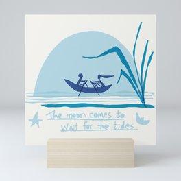 the moon waits for tides Mini Art Print