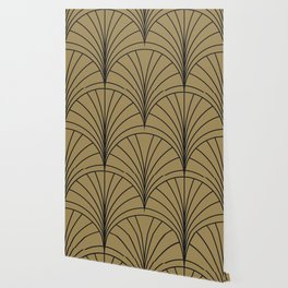 Diamond Series Floral Burst Charcoal on Gold Wallpaper