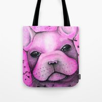 frenchie Tote Bags featuring Frenchie  by ClarissaLynnArt
