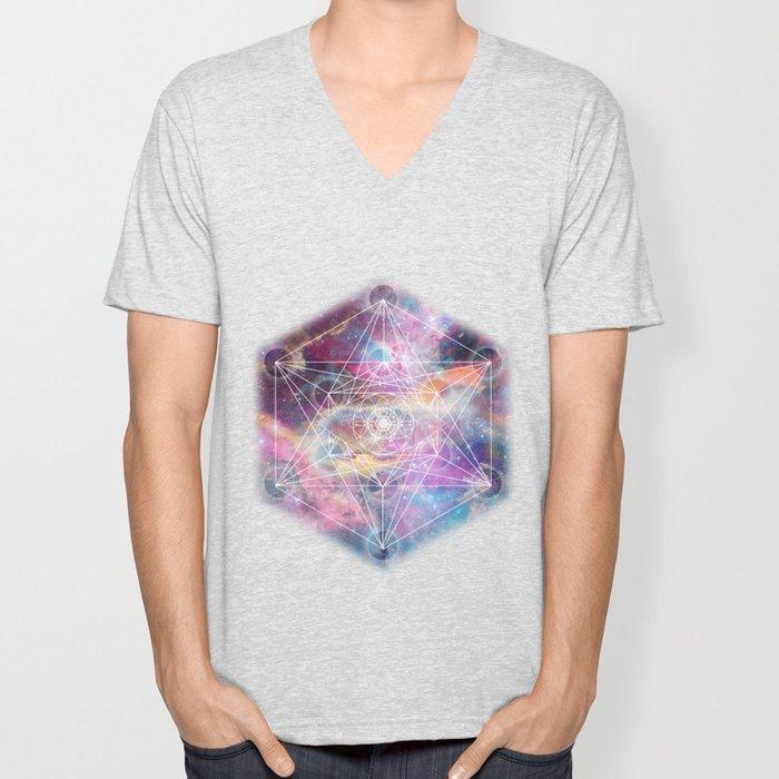 Watercolor and nebula sacred geometry  Unisex V-Neck