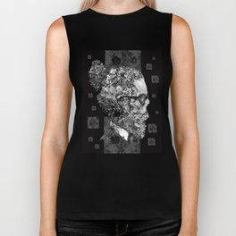 hipster floral skull 2 Biker Tank