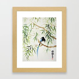 Blue Bird on The Branch Framed Art Print