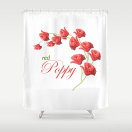 Lovely Red Poppy Shower Curtain