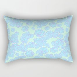 Blue n' Purple Sketchy Rose Print Rectangular Pillow