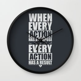 Lab No. 4 When Every Action Has A Purpose Every Action Has A Result Gym Inspirational Quotes Poster Wall Clock