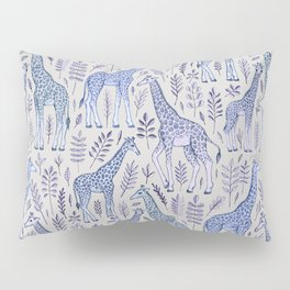Blue Giraffe Pattern Pillow Sham