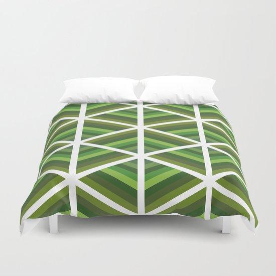 Green Stripe Triangles Duvet Cover