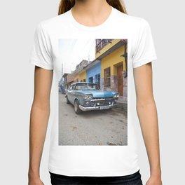 Baby Blue Vintage Classic Car Cuba Trinidad Stucco Cityscape Travel Latin America Tropical T-shirt