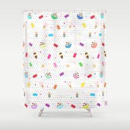 Ice Cream Collage in White Shower Curtain