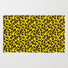 Lemon Yellow Leopard Spots Animal Print Pattern Rug
