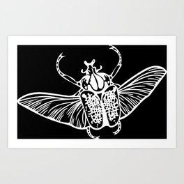 Goliath Beetle in White Art Print