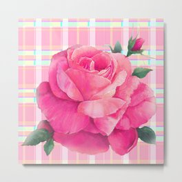 Rose On Plaid Metal Print
