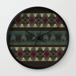 southwest stripe with horses Wall Clock