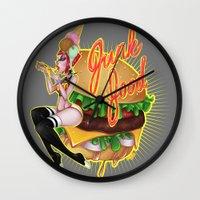 junk food Wall Clocks featuring Junk Food by Artetak
