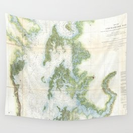 Vintage Map of The Chesapeake Bay (1857) Wall Tapestry
