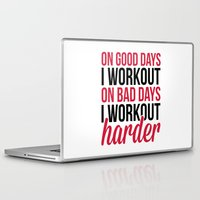workout Laptop & iPad Skins featuring Workout Harder Gym Quote by EnvyArt
