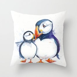 Parading Puffins Throw Pillow