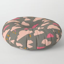peachy pinky clouds on sage Floor Pillow