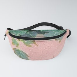 Pink Green Leaves Fanny Pack