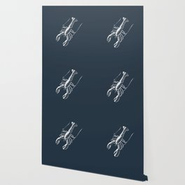 White lobster on navy Wallpaper
