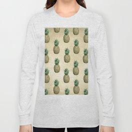 Vintage Pineapple Pattern Linen Long Sleeve T-shirt