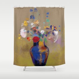 "Odilon Redon ""Flowers on a grey background (Fleurs sur fond gris)"" Shower Curtain"