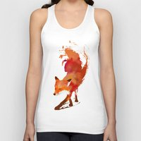 drawing Tank Tops featuring Vulpes vulpes by Robert Farkas