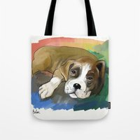 boxer Tote Bags featuring Boxer by Michelle Behar