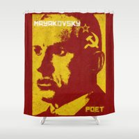 soviet Shower Curtains featuring Mayakovsky, Soviet Poet by Adam Metzner
