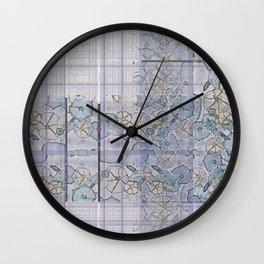 Plaid Tartan & Morning Glories Wall Clock