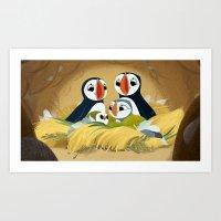 Puffin Rock - In the burrow Art Print