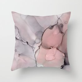 Alcohol Ink - Neutral Gray & Blush Throw Pillow