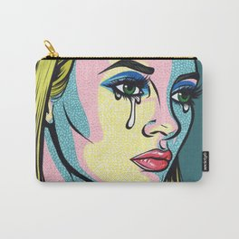Blonde Crying Model Comic Girl Carry-All Pouch