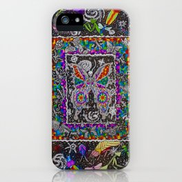 Decay of Insecta Rainbow Galaxy Skeleton Dotwork Space Illustration iPhone Case