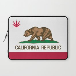 California Republic state flag with red Cannabis leaf Laptop Sleeve
