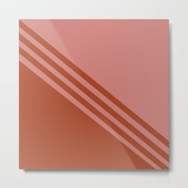 Tracks // Stripes, Minimal, Clean, Rust Metal Print
