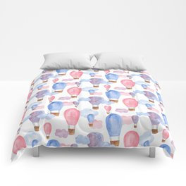 Watercolor air balloon. Pink and blue baby pattern. Nursery illustration. Kids art Comforters