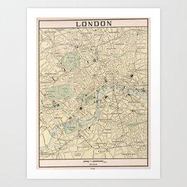 Vintage Map of London England (1901) Art Print