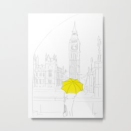 Yellow Umbrella Travel Girl on the River Thames, London Metal Print