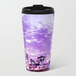 Gorgeous Purple Geometric Brisbane City Riverscape Travel Mug