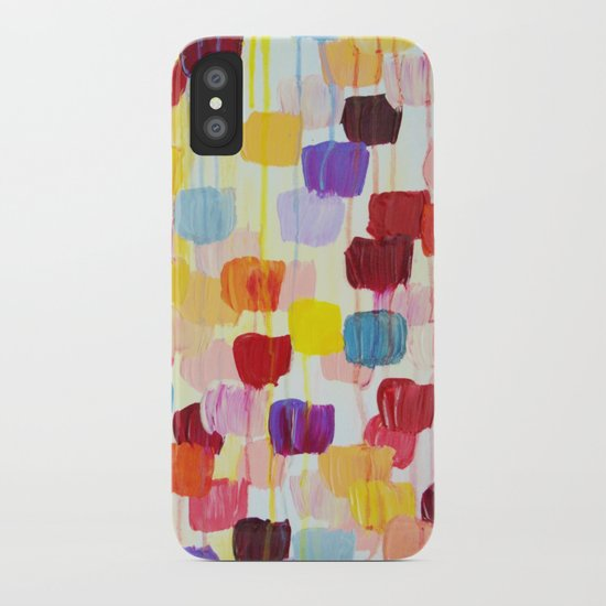 DOTTY - Stunning Bright Bold Rainbow Colorful Square Polka Dots Lovely Original Abstract Painting iPhone Case