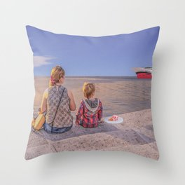 Waiting. Mother and child Throw Pillow
