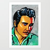 elvis Art Prints featuring Elvis by Lina Caro Design