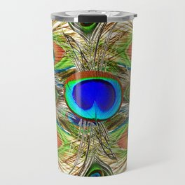 AWESOME BLUE-GREEN PEACOCK FEATHERS ART Travel Mug